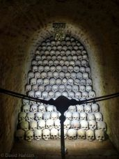 Stacks of skulls with evidence of disease
