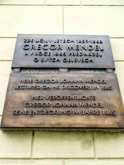 Historical marker about Gregor Mendel